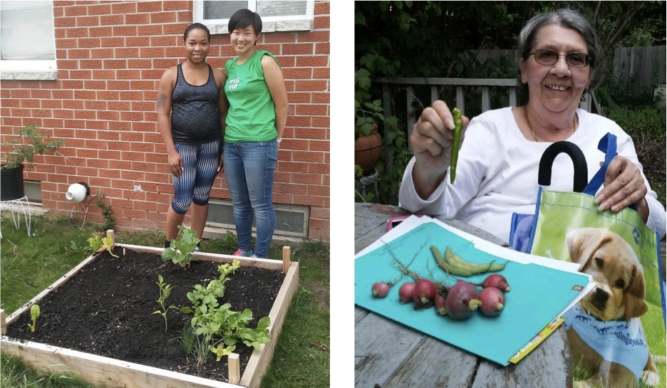 Bianca and I when we re-seeded her garden bed; Maria and her fresh harvest of radishes and peppers