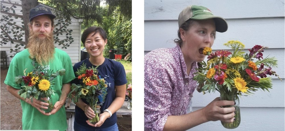 Christopher, the farm assistant, and I with the bouquets we made; my supervisor Bee Ayer, farm manager and far superior bouquet arranger
