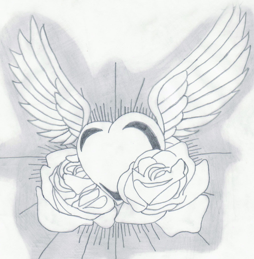 Artwork of heat with wings and roses