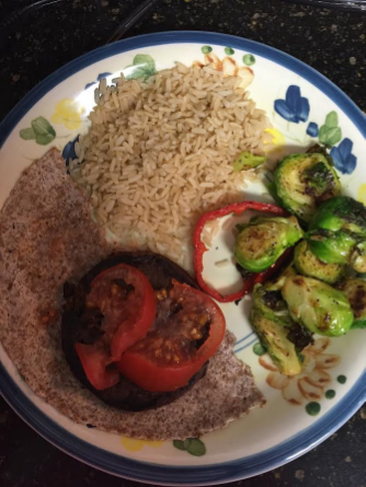 Once, again, the black bean burger, sautéed brussel sprouts, and brown rice. Still on the fence about whether that tortilla was allowed, but it was 100% whole wheat and tasted like cardboard so I'm pretty sure it was safe.