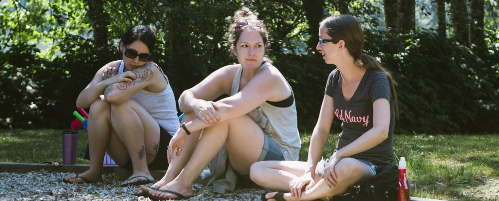 Charlotte (middle) with two other ladies during our summer camping trip