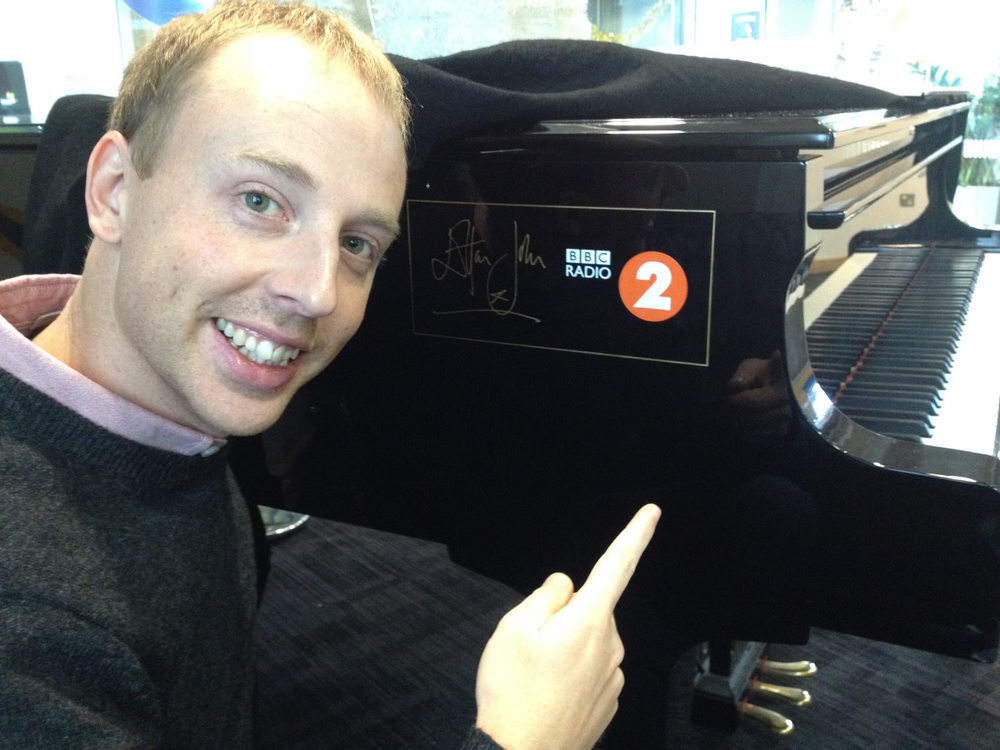 RDCE in the BBC Radio 2 recording studio with Elton's piano
