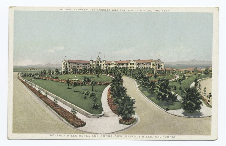 Beverly Hills Hotel and Bungalows, Beverly Hills, California, Midway Between Los Angeles and the Sea. Open All the Year.jpg
