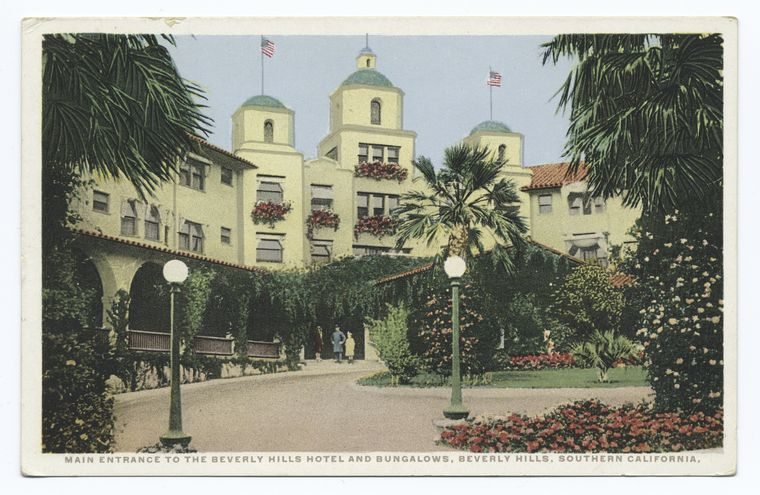 Main Entrance to the Beverly Hills Hotel and Bungalows, Beverly Hills, Southern California.jpg