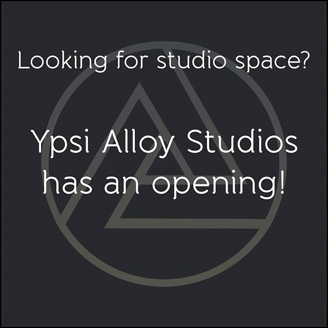 Hey all! Ypsi Alloy Studios will have not one but TWO spaces available to artists June 1st! PM for more info and spread the word! #artstudio #workspace #studio #michiganartist #ypsilanti #ypsialloy  #ypsiartist #annarborartist