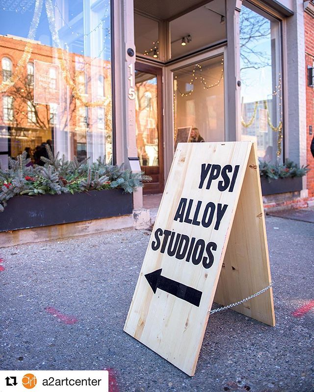 #Repost @a2artcenter with @get_repost ・・・ The Holiday Popup is ON! Come check out work by the artists of @ypsialloystudios in our new space next door at 115 W Liberty St! Open today until 8pm and tomorrow from noon to 6. . . . . #a2artcenter #annarbor #ypsialloy #ypsialloyholidaymarket #popup #artpopup #visitannarbor #supportlocalart #ypsilanti #ypsiart