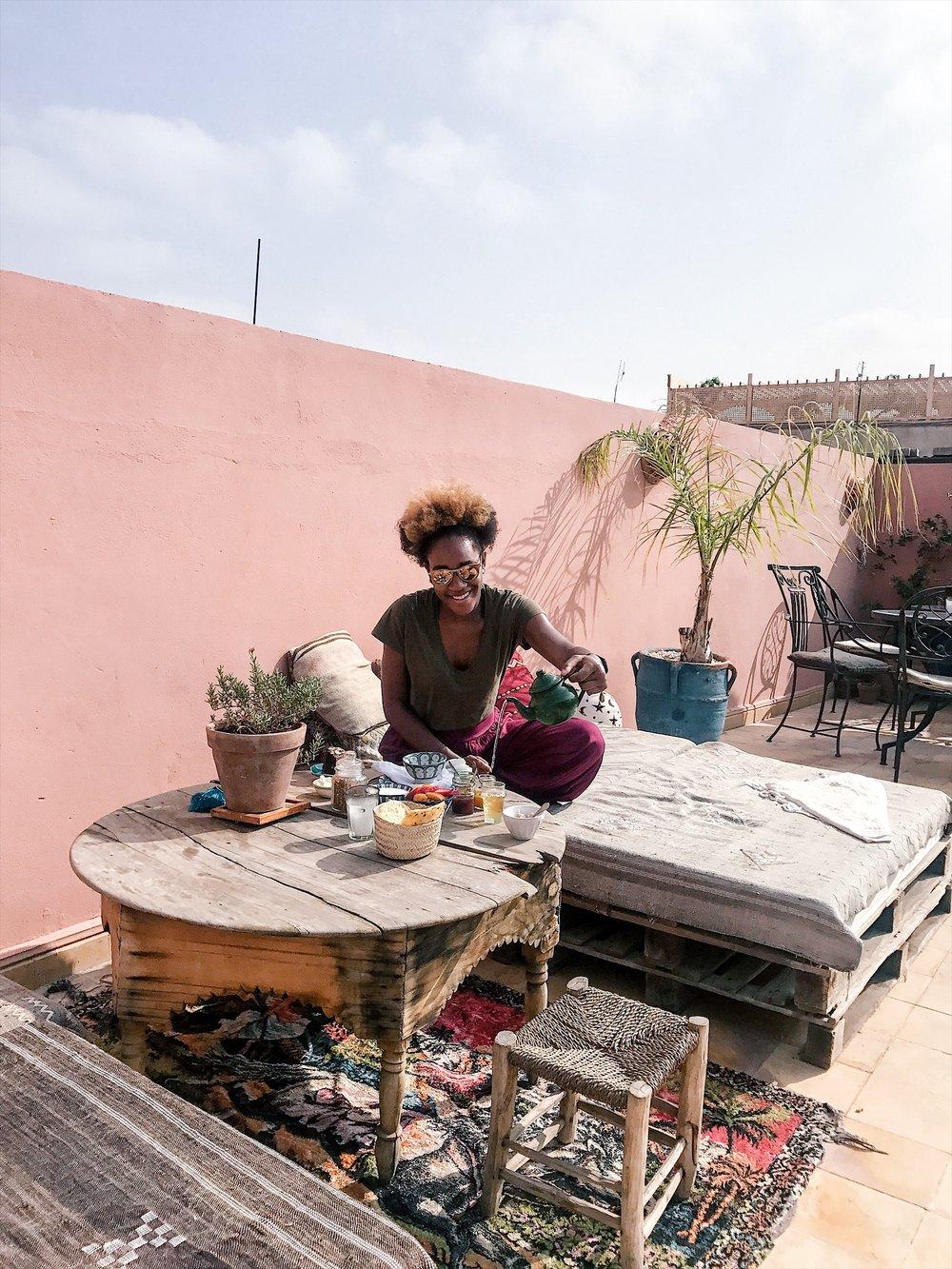 Riad BE rooftop breakfast