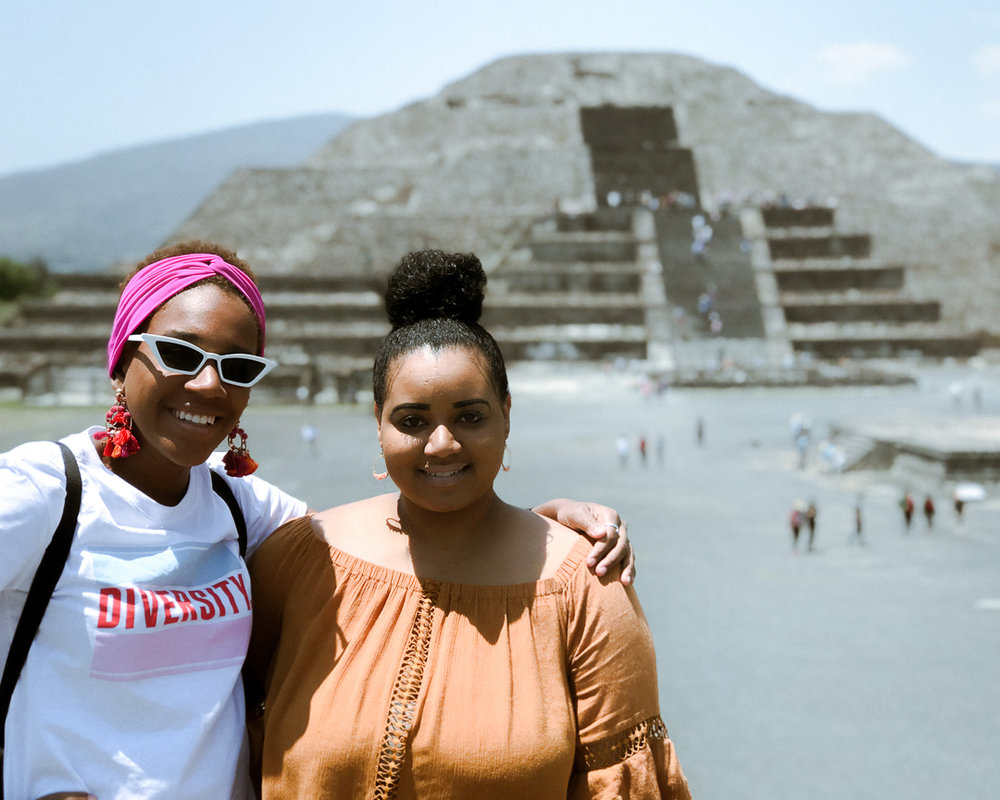My sister and I at the Pyramid of the moon.