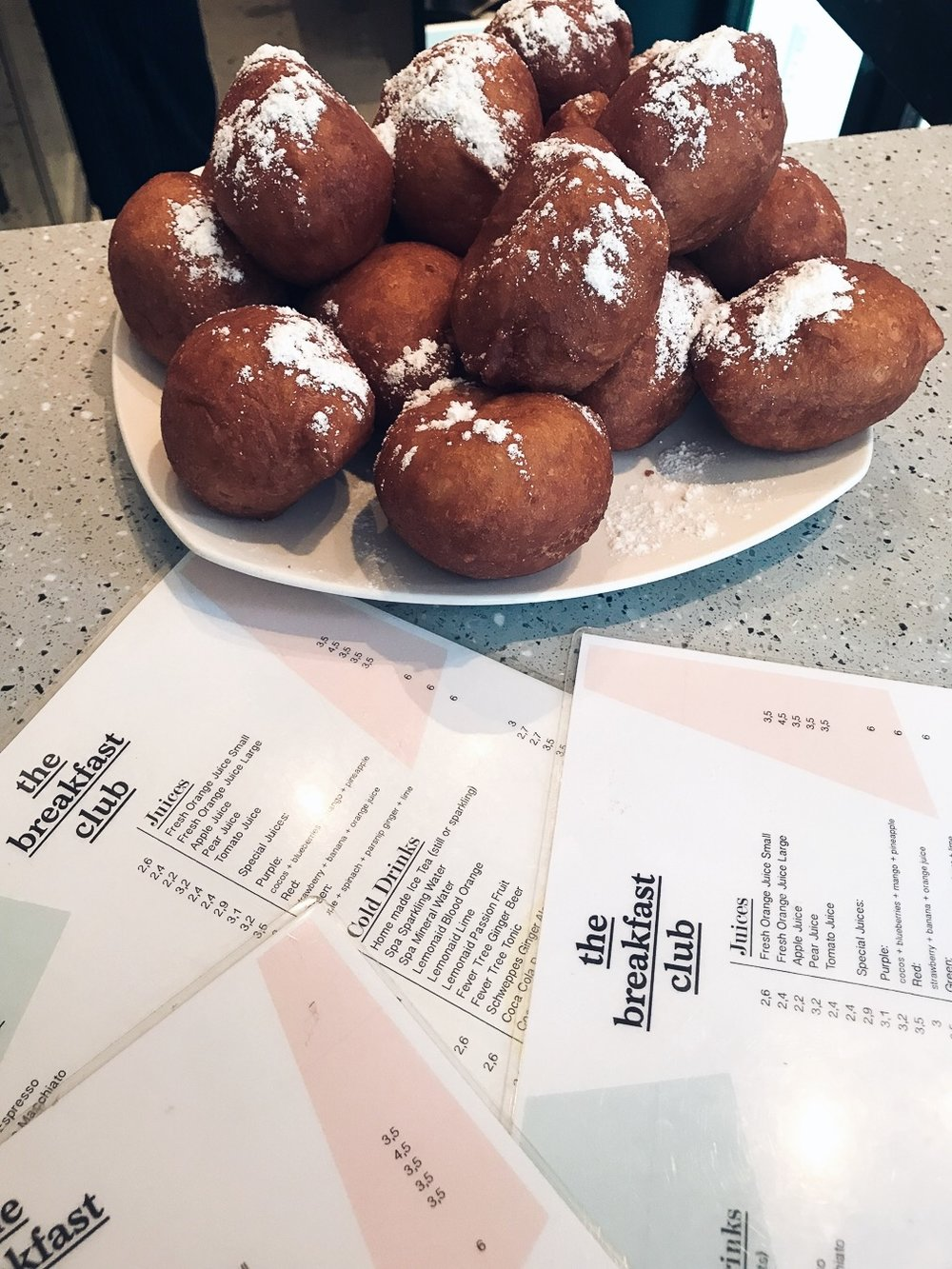 The Breakfastclub  Amsterdam. Eating Olibollen (oily balls) at midnight on NYE is a dutch tradition.