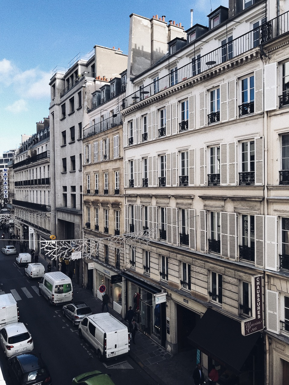 Parisian street view from Hotel Chavanel.