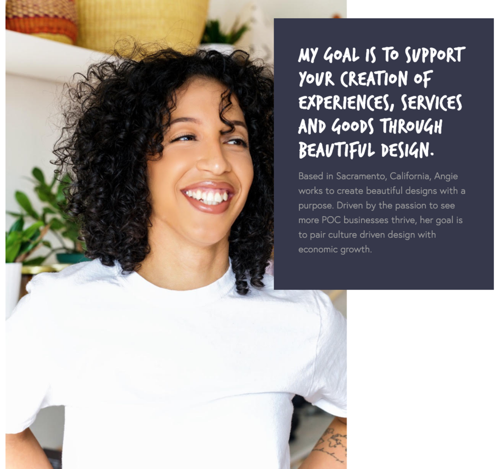 web designer, business owner and Canva guru Angie fraklin. - She taught me everything I needed to know when it comes to designing my website, choosing my look and feel and how to really convert followers to my products with canva ads, flyers and branding.