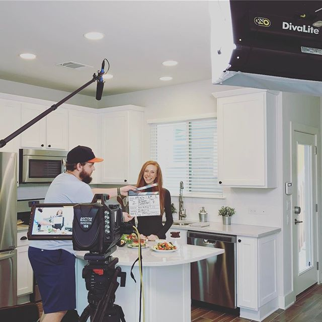 Shooting Annie's first video for her new YouTube channel today! #vegannie #austinfilm #blackmagicvideo #triadatx