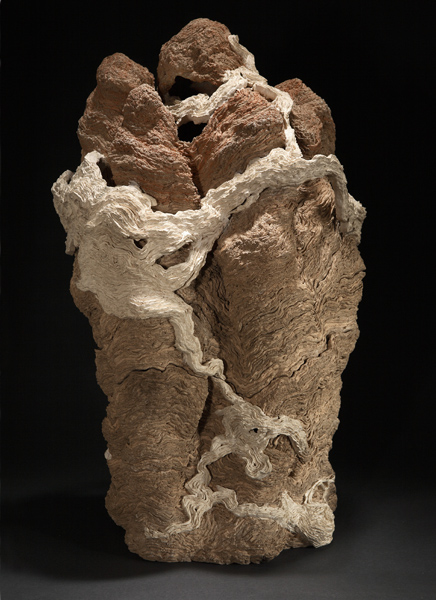 "Guanyin's Mountain ,   2008    clay, kiln- and pit-fired    29""h. x c.18"" dia."