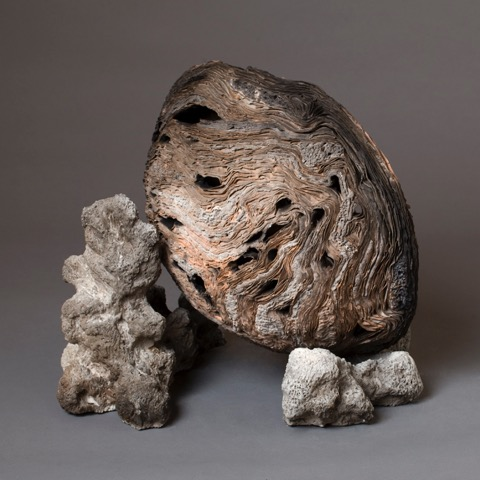 "Moon, There/Not There       2012    clay, kiln- and pit-fired    14""h. x 17"" x12"""