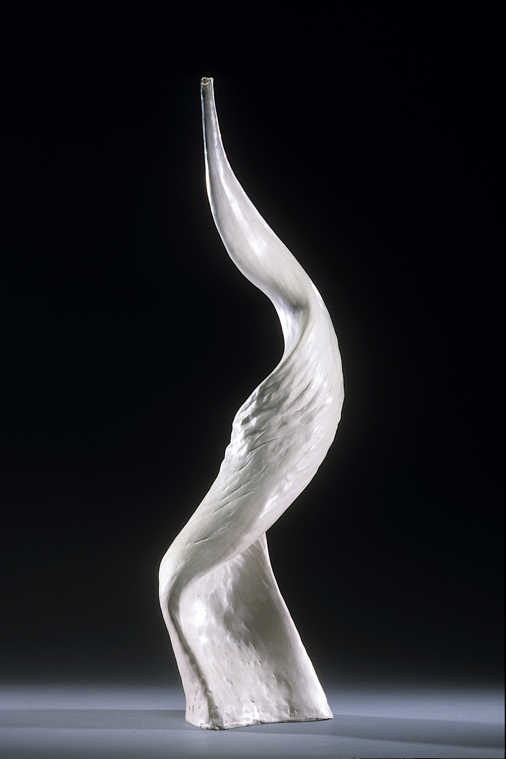 "Shofar 2,      2002    clay, kiln- and pit-fired    37"" h."