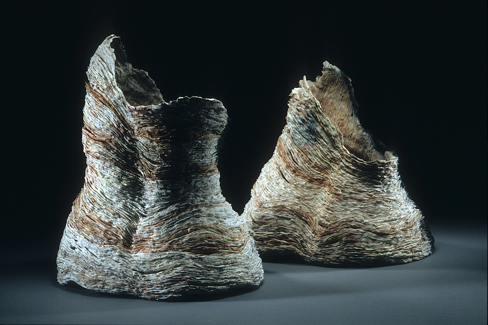 "Lot's Wife and Her Sister,   2005    clay, kiln- and pit-fired    16""h. x 13"" x 11"" and 13""h. x 12"" x 10"""