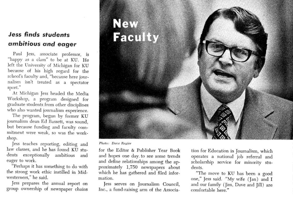 A spread from the Fall 1976 Jayhawk Journalist