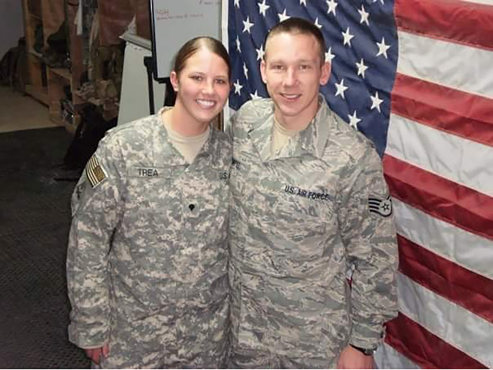 Rebecca Rumptz and her brother Joshua Rumptz, an Air Force technical sergeant, both were deployed in Iraq and were able to meet up in Balad, Iraq, in 2008.
