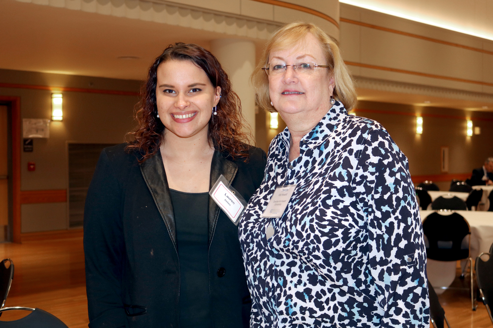 Student Lauren Debes met her scholarship donor, Charlotte Kirk Howard, during the Scholarships and Awards Ceremony on William Allen White Day on April 14.