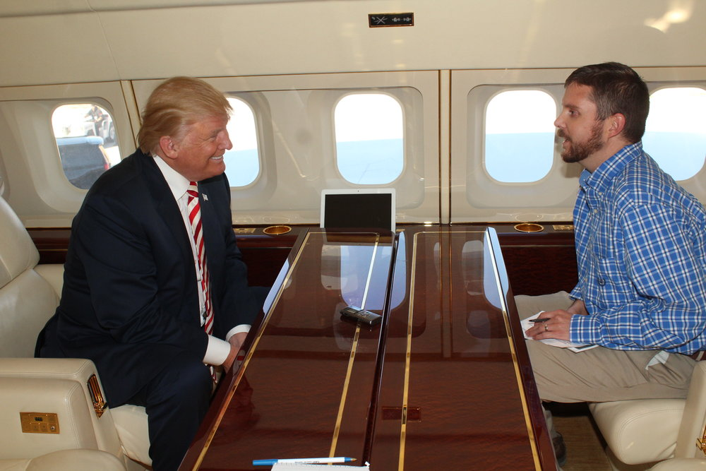 Matt Lindberg, managing editor of the Montrose Daily Press, interviewed Donald Trump aboard the GOP presidential candidate's plane on Oct. 18. Lindberg was the only journalist granted an exclusive interview with Trump during his campaign stop in Grand Junction, Colorado, that day. (Photo courtesy of Montrose Daily Press)