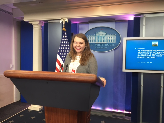 Maddy Mikinski in the White House press briefing room