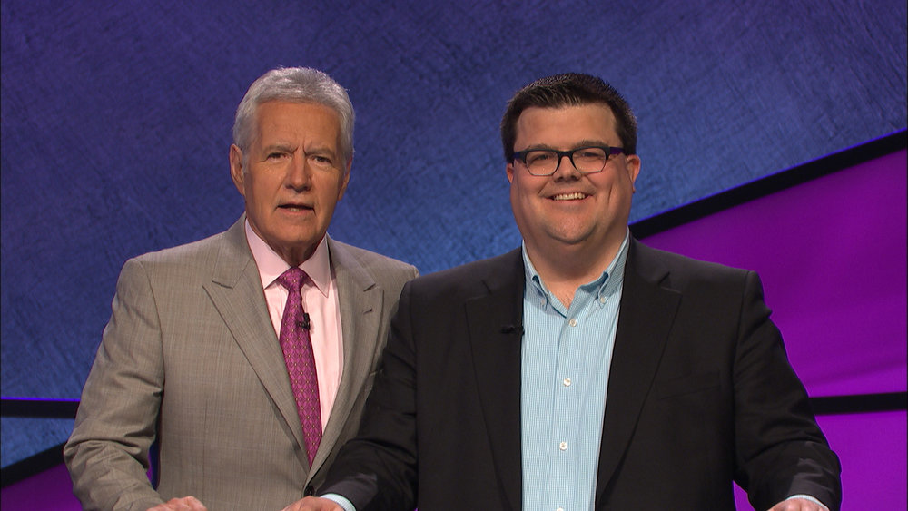 Alex Trebek (left) with J-School alumnus Andy Hyland.