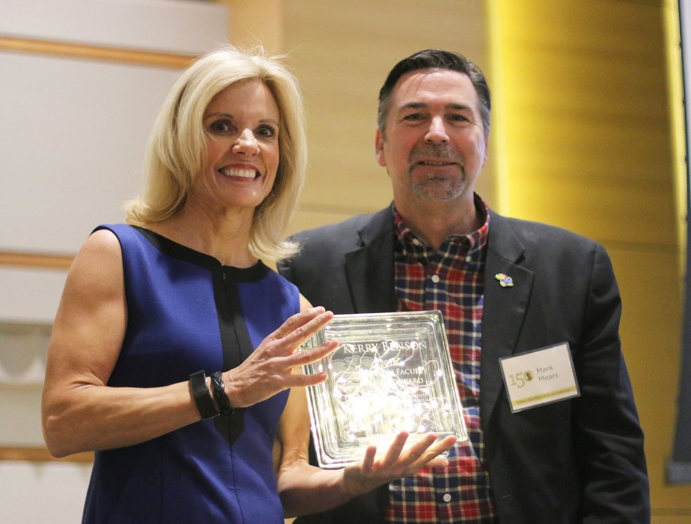 Kerry Benson , strategic communication track chair, received the Bengtson Faculty Mentor Award at the J-School Scholarships and Awards ceremony in April. The award was established in 2012 by Mark Mears (above), 1984 J-School graduate, to honor his mentor, Professor Tim Bengtson, who taught in the school for more than 30 years.