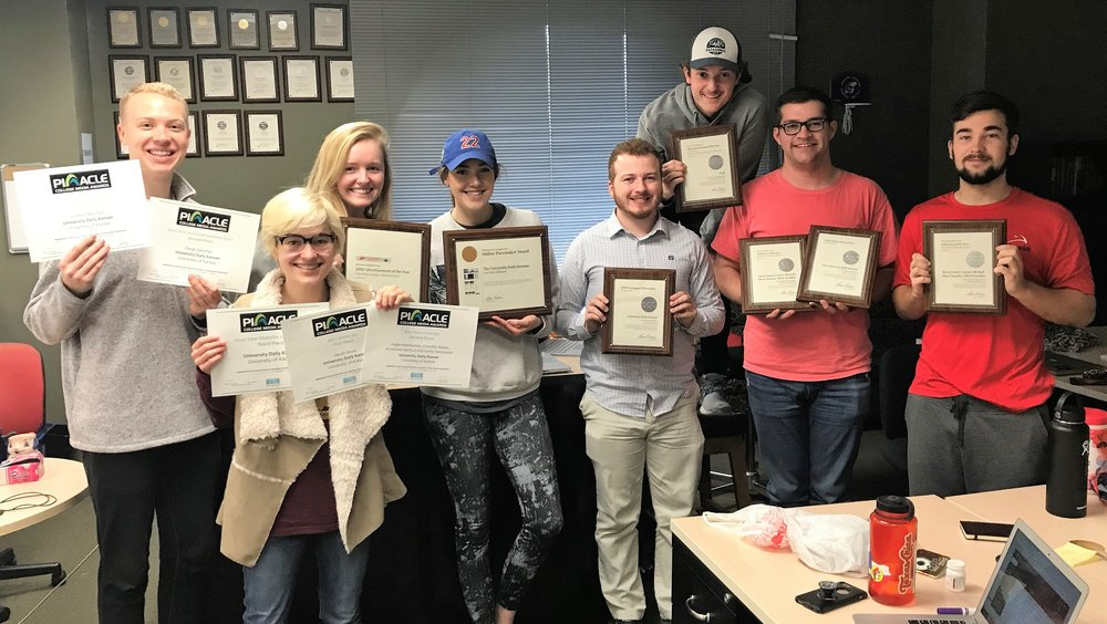 Kansan staff members showed off the awards they won at the 2018 Associated Collegiate Press and College Media Association convention Oct. 25-28 in Louisville.