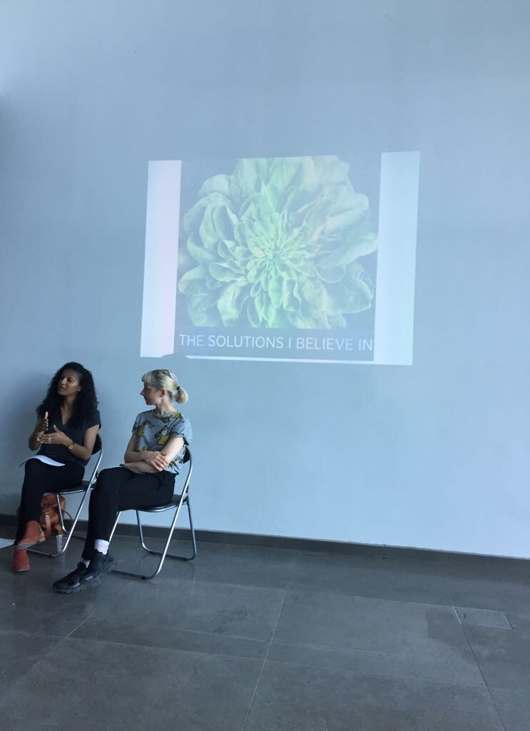 RCA Fine Art Talk (as part of the Chelsea Fringe Festival) - MAY 2017As part of The Chelsea Fringe Festival, I was invited by the Royal College of Art to speak about growing food in the city. The event included a presentation on my journey from working in media into becoming an urban organic food grower in London and a conversation with curator, Anne Duffau (pictured) and the audience covering food sovereignty, seed saving and sustainable beekeeping.https://www.rca.ac.uk/news-and-events/events/artist-talk-claire-ratinon/