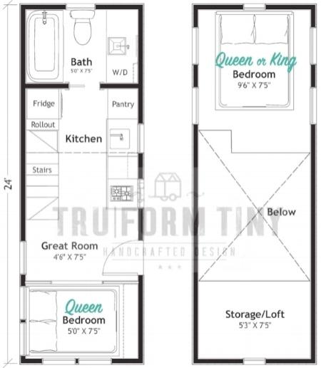Example floorplan:  24' PAYETTE
