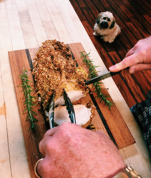 The whole family will love your Pecan Crusted Pork Loin… - …even your 7 pound mongrel