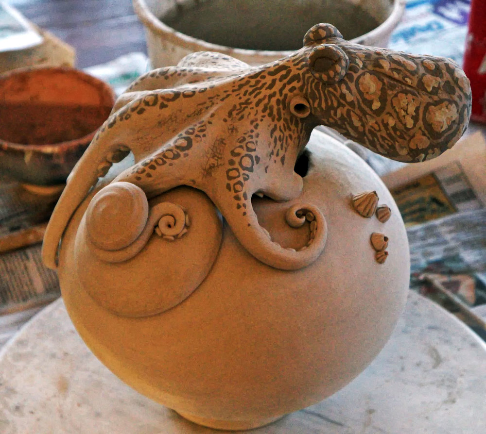 Beginning of glaze application