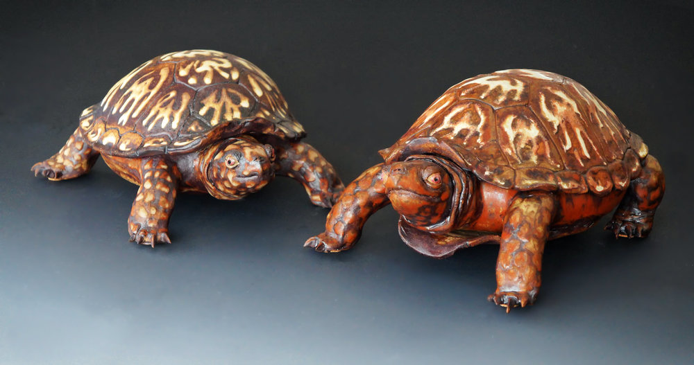 """Tom & Gerry"" 11 inches long. Glazing and firing by Jennie Blair."