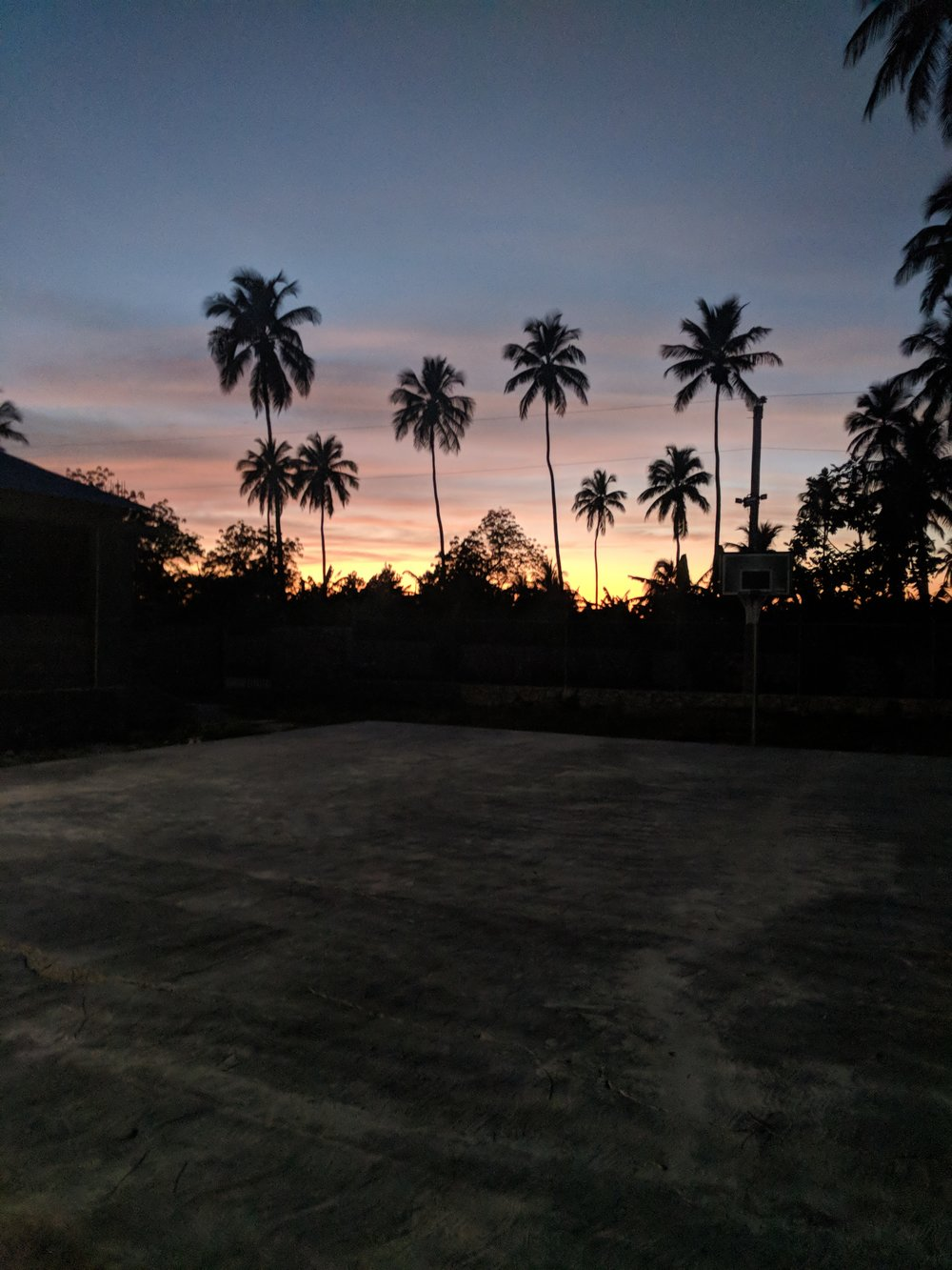 Dusk on the campus of Northwest Haiti Christian Mission in Mole St. Nicolas.