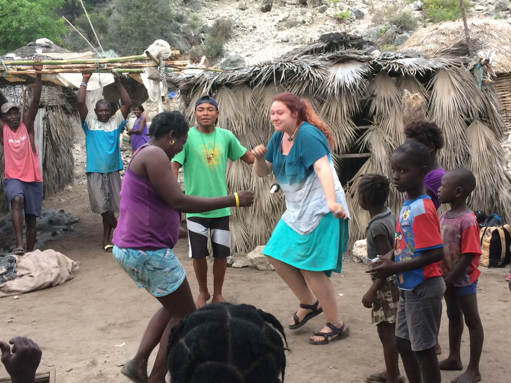 Dancing with the locals in one of the fishing villages near Mole St. Nicolas.