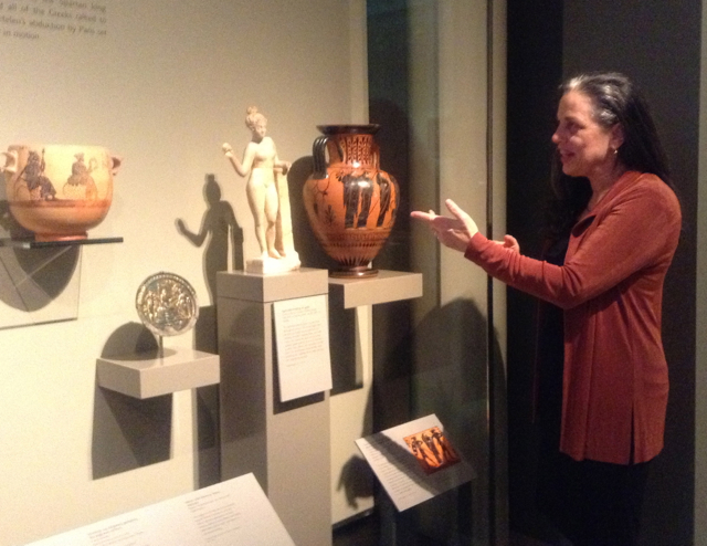 "Click on image above to listen as the new Greek galleries come alive with vivid myths and stories from the Ancient world.  Join storyteller Norah Dooley ( norahdooley.com) for 15 minute tales in the gallery.  Co-presented by massmouth (www.massmouth.org) and the MFA Boston department of education. Music thanks to Michael Levy,lyre of, Wales, UK. In the beginning of the podcast we hear the Epitaph of Seikilos, a complete Ancient Greek Melody Composed by Seikilos, Son of Euterpe, 1st Century CE - Arranged For Replica Lyre and in the outro, the Ancient Greek Musical Fragment, Poem. Mor 1, 11f. Migne 37, 523 - Arranged For Replica Lyre. Michael Levy at: http://www.ancientlyre.com/ Pathos and Bathos: Backstories of the Ancient Greeks: The stories of Classical Greece are considered central to an auspicious canon of western literature and history.  But the backstories of events like the Trojan war, how wine came to the symposia and the death of Agamemnon read more like the headlines from People Magazine and Gawker blog.  That mother and her boyfriend killed her….what? Drunken shepherds did what? That celebrity father did what to his daughter? Master storyteller Norah Dooley explores the backstories of objects in three rooms in the new Greek galleries; from the initiating incident of Homer's epic ( Helen of Troy ) to the fate of the inventor of wine ( Ikarios and his daughter) and Aeuschylus' depiction of the ""madness"" of Clytemnestra ( death of Agamemnon). Three New Galleries Highlighting Greek Wine, Theater and Poetry Open at MFA Boston MUSEUM OF FINE ARTS, BOSTON All Spotlight Talks are free with Museum admission."