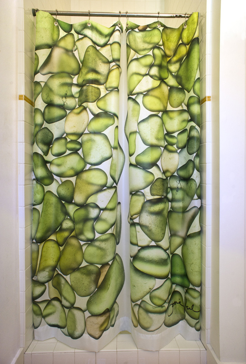 Green Sea Glass Shower Curtain