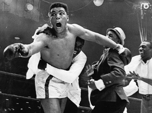 "Ali telling the fans ""I'm the Greatest"" after upsetting Sonny Liston"