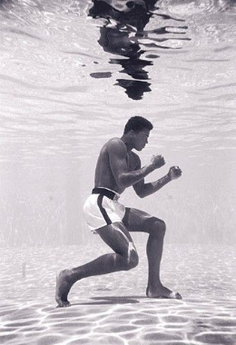Ali training in water.  Picture taken for New York Times article, provided by Getty Images