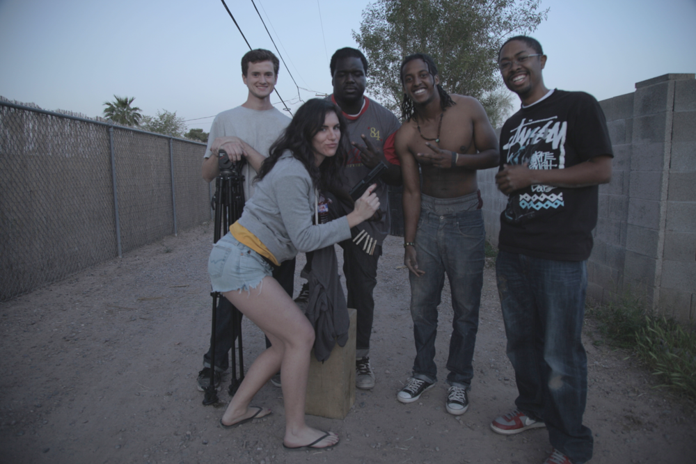 Pictured from left to right: Nathan Francis (1st AC/DP), Aexandra Meola (Producer), Moses Davis III (Producer/Sound), J. Austin (Writer/Director),Taurean Reynolds (DP).
