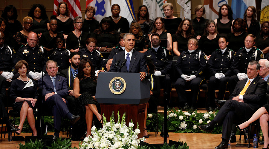 President Obama, First Lady Michelle Obama, former President & First Lady Bush,  while at the interfaith memorial in Dallas for the 5 police officers.