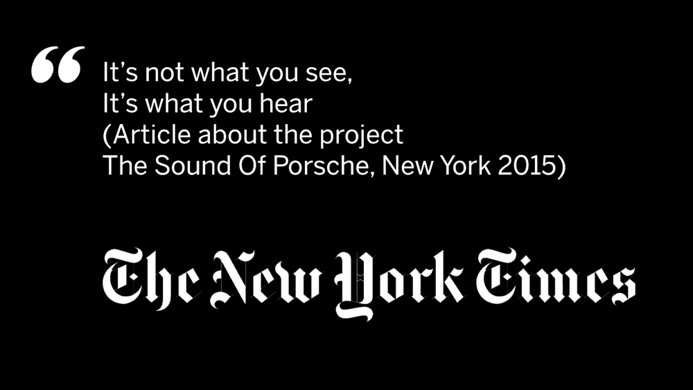 The sound of Porsche / The New York Times quote / amp sound branding / audio branding