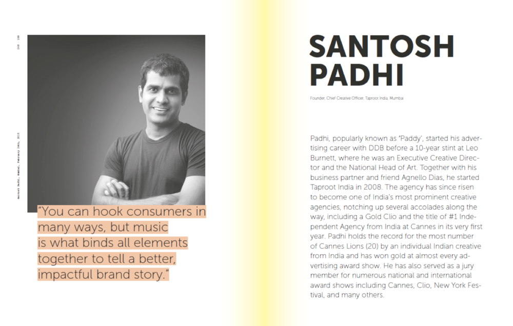 Santosh Padhi, Taproot India, sound branding, music in advertising, sound identity, 101GreatMinds