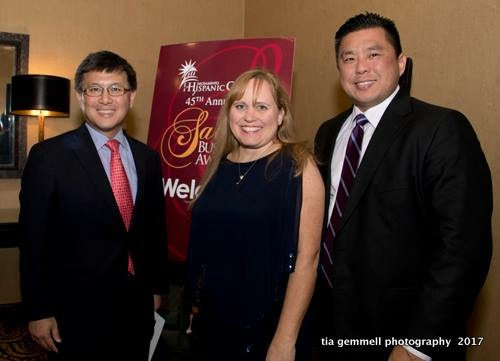Charlotte Danielsson an Hispanic Chamber Gala with CA Treasurer John Chiang as her guest