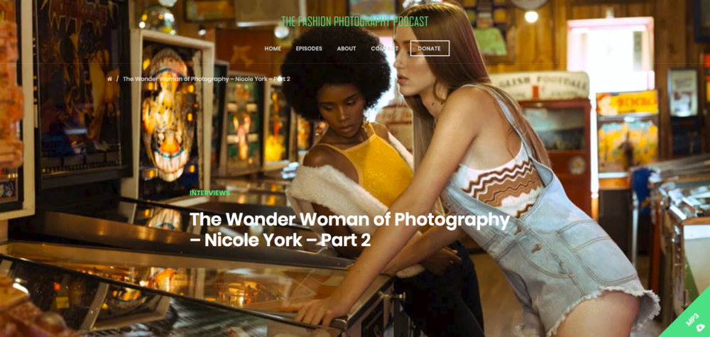 - Three part interview with The Fashion Photography Podcast where Nicole discusses portfolio reviews, developing a style, marketing, and more. LISTEN HERE, on iTunes, at Neverland Magazine, or Jute Magazine