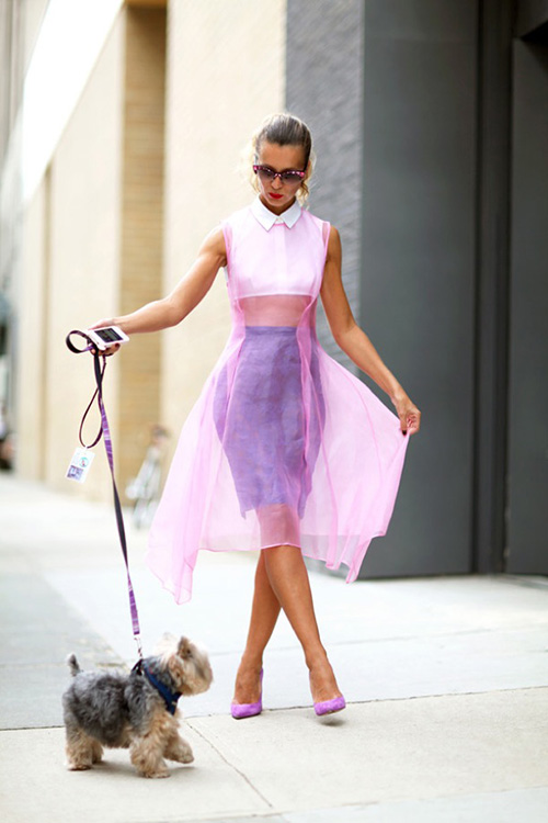 NYFW-STREET-STYLE-NATALIE-JOOS-SHEER-DELIGHTS-SHEER-DRESS-PURPLE-ACENTS-PUMPS-DAG-WALKING-EMBELLSIHED-PINK-SUNGLASSES-VIA-HARPERS-BAZAAR