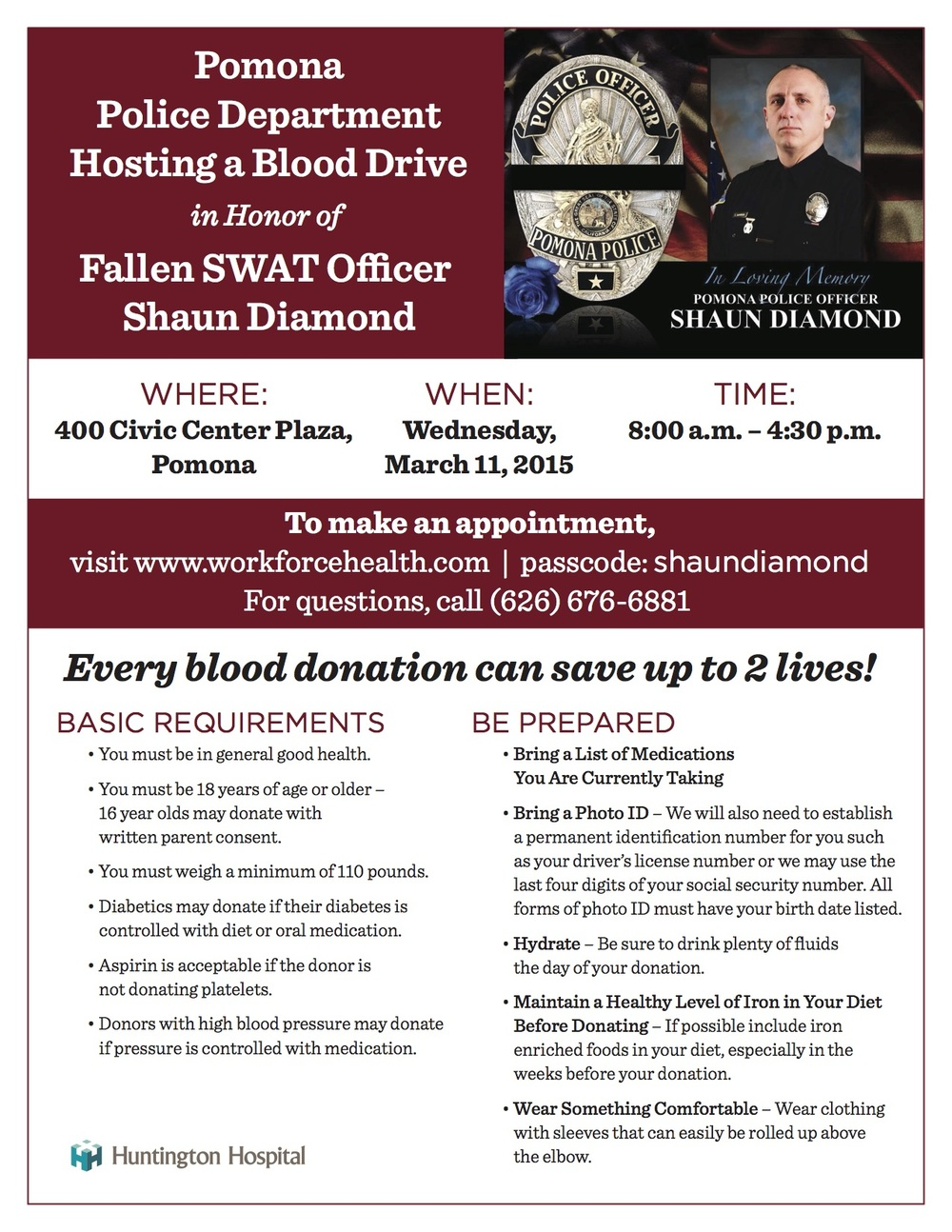 Blood Donor Flyer - Shaun Diamond Jan  2015