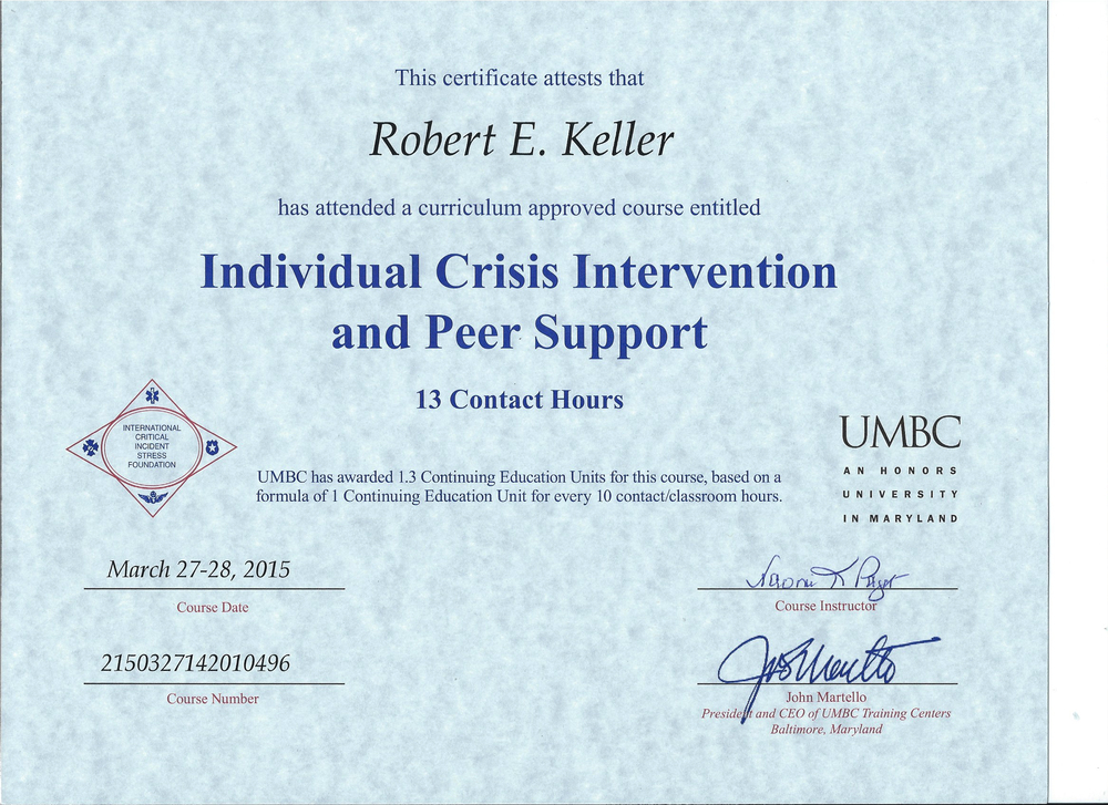 Individual Crisis Intervention & Peer Support Cert Bob Keller