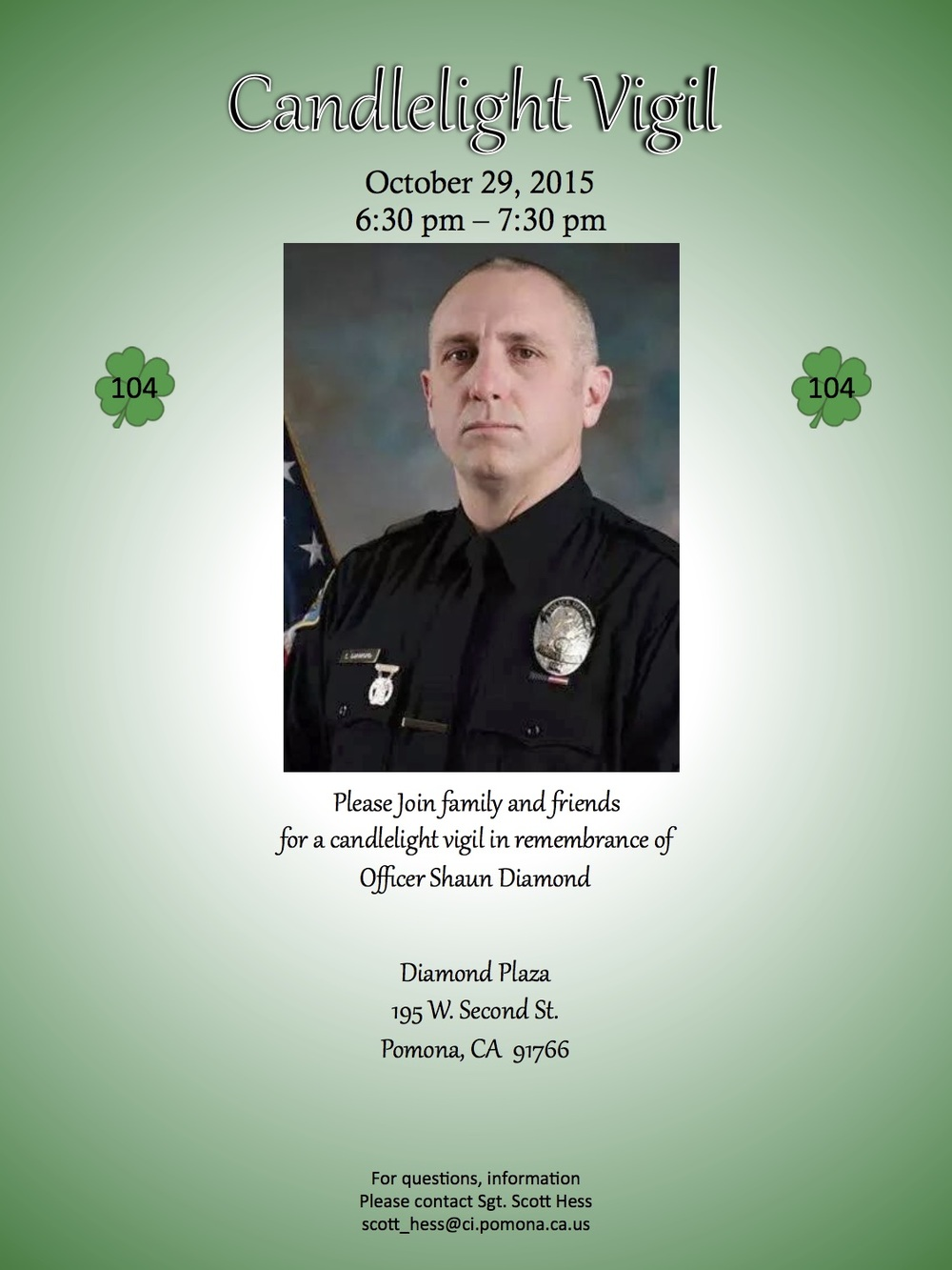 Shaun Diamond Vigil Flyer