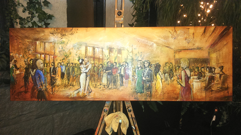 live wedding painting by impressions live art - brix restaurant